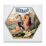 Mermaids Cigar Label Tile Coaster