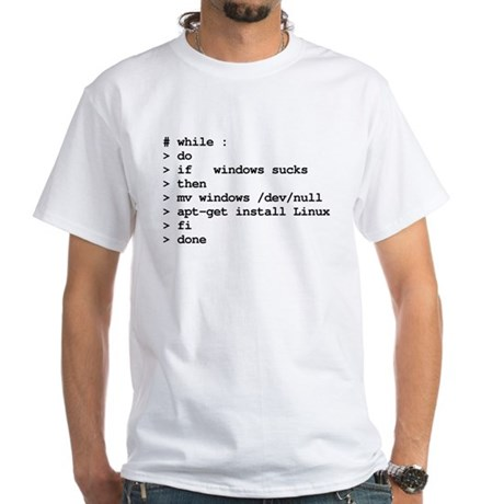 Linux pseudo-code to remove windows and install Linux, merchandise available at CafePress.com