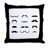 Moustache collection Throw Pillow