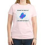 The Angry Butterfly: Women's Pink T-Shirt