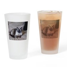 Cute Siamese cats Drinking Glass