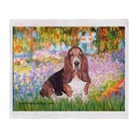 Basset in the Garden Throw Blanket