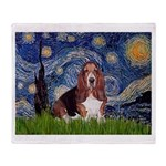 Starry / Basset Hound Throw Blanket