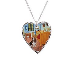 Van Gogh's Room & Basset Necklace Heart Charm