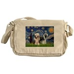 Starry / 2 Bearded Collies Messenger Bag