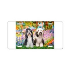 Garden / 2 Bearded Collie Aluminum License Plate