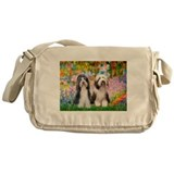 Garden / 2 Bearded Collie Messenger Bag