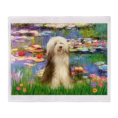 Lilies / Bearded Collie Throw Blanket