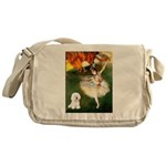 Ballet Dancer & Bichon Messenger Bag