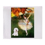 Ballet Dancer & Bichon Throw Blanket