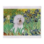 Irises and Bichon Throw Blanket