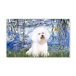 Lilies (6) & Bichon 20x12 Wall Decal