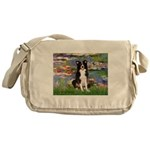 Lilies & Border Collie Messenger Bag