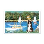 Sailboats & Border Collie 20x12 Wall Decal