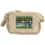 Sailboats & Border Collie Messenger Bag