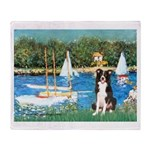 Sailboats & Border Collie Throw Blanket