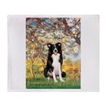 Spring & Border Collie Throw Blanket