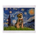 Starry Night / Border Terrier Throw Blanket
