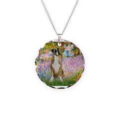 Boxer in Monet's Garden Necklace Circle Charm