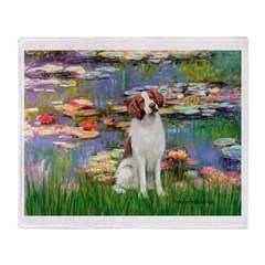 Lilies 2/Brittany Spaniel Throw Blanket