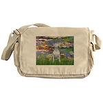 Lilies2-Bull Terrier (P) Messenger Bag