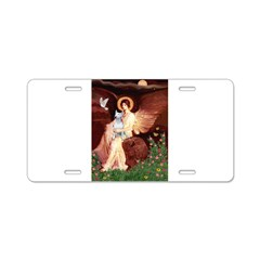 Angel & Bull Terrier Aluminum License Plate