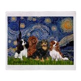 Starry / 4 Cavaliers Throw Blanket