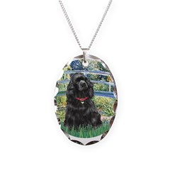 Bridge / Black Cocker Spaniel Necklace Oval Charm