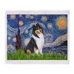 Starry Night / Collie (tri) Throw Blanket