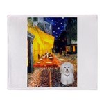 Cafe with Coton de Tulear Throw Blanket