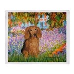 Garden -Dachshund (LH-Sable) Throw Blanket
