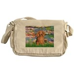 Lilies (2) & Doxie (LH-Sable) Messenger Bag