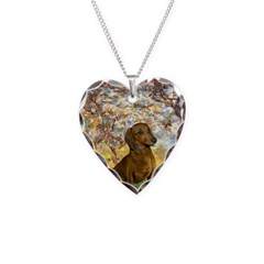 Spring / Dachshund Necklace Heart Charm