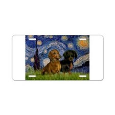 Starry Night Doxie Pair Aluminum License Plate