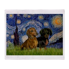 Starry Night Doxie Pair Throw Blanket