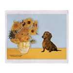 Sunflowres / Dachshund Throw Blanket