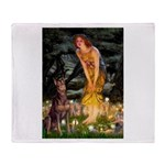 Fairies & Red Doberman Throw Blanket