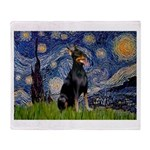 Starry Night Doberman Throw Blanket