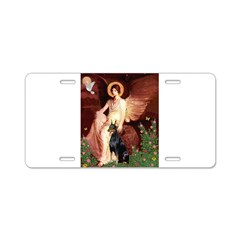 Seated Angel & Dobie Aluminum License Plate
