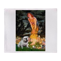Fairies / English Bulldog Throw Blanket
