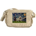 Starry Night English Bulldog Messenger Bag