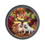 The Path / Two English Bulldogs Wall Clock