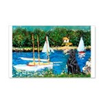 Sailboats / Flat Coated Retri 20x12 Wall Decal
