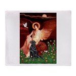 Angel / Flat Coated Retriever Throw Blanket