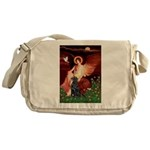 Angel / Flat Coated Retriever Messenger Bag