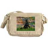 Lilies / Flat Coated Retrieve Messenger Bag