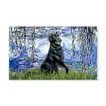 Lilies / Flat Coated Retrieve 20x12 Wall Decal