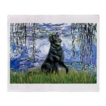 Lilies / Flat Coated Retrieve Throw Blanket