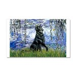 Lilies / Flat Coated Retrieve Car Magnet 20 x 12