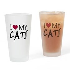 'I Love My Cats' Drinking Glass